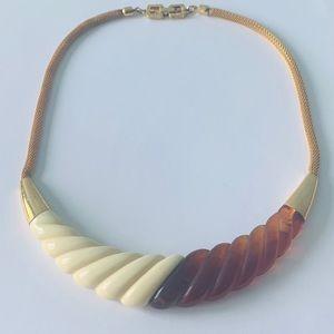 GIVENCHY 1977 Modernist Designer Necklace Tortoise